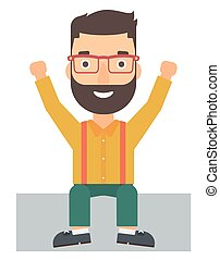 Man sitting with raised hands up. - A hipster man with the...