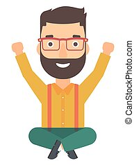 Man sitting with crossed legs and raised hands up. - A...