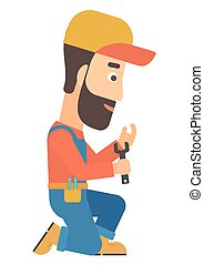 Repairman holding spanner - Young hipster repairman sitting...