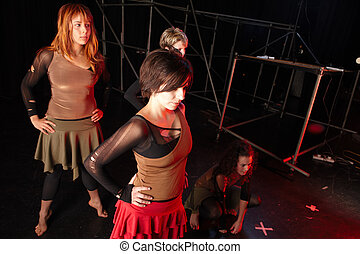 Dancers on stage - A young female freestyle hip-hop dancers...