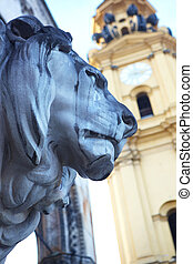 lions at Feldherrnhalle - The statues of lions in front of...