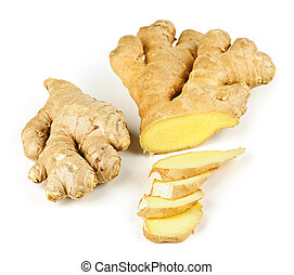 Ginger root - Sliced ginger root spice isolated on white...
