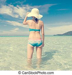 femmina, in, bikini, su, spiaggia, vendemmia, retro,...