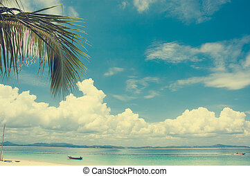 Retro beach and blue sky for summer background