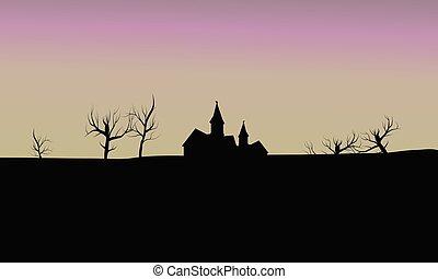 silhouette house in fields