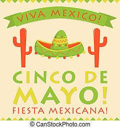Retro style Cinco De Mayo 5th of May card in vector format...