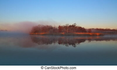 fog sky river water bay forest color scenery shore season