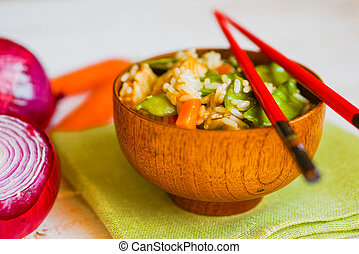 Asian Chicken With Rice And Vegetables