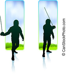 Fencer on Nature Banners Original Illustration