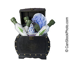 Relaxing Bath Time Items in a Chest