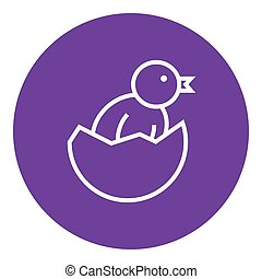 Chick peeking out of egg shell line icon.
