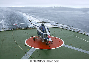 Russian helicopter - Helicopter on a Russian icebreaker in...