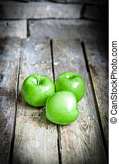 Fresh Farm Raised Apples On Rustic Wooden Background
