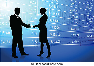 Business greeting background with stock market data