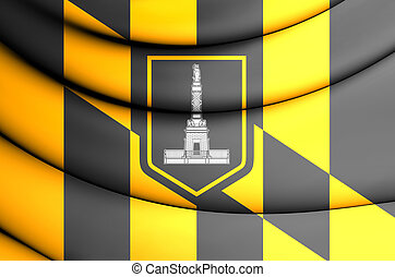 Flag of Baltimore Maryland, USA - 3D Flag of Baltimore...