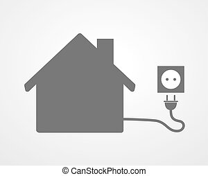 Black house with socket - vector illustration Simple icon...