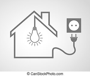 Black house with socket and light bulb - vector illustration...
