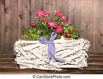 Gillyflowers in a white Basket - Gillyflowers and Daisies in...