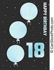 birthday illustration with color ballons - dark happy...