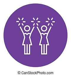 Cheerleaders line icon - Cheerleaders thick line icon with...