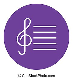 Treble clef line icon. - Treble clef thick line icon with...