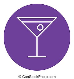 Cocktail glass line icon - Cocktail glass thick line icon...