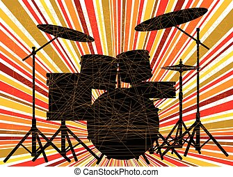 Jazz Drum Kit - Silhouette of a rock bands drum kit over a...