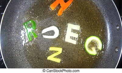 Stir-frying mixed alphabet letters, word Hunger