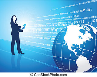 Businesswoman with globe on business background
