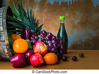 fresh fruits on wooden