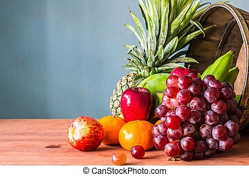 Fruit from the farm  on a wooden