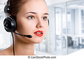 Customer service operator woman with headset