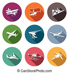 Air transport and the device Icons Set Vector Illustration -...