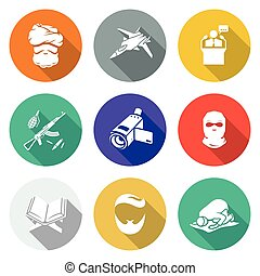 Wrong religious teaching Icons Set Vector Illustration -...