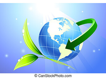 Globe with arrow with nature background Original Vector...