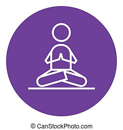 Man meditating in lotus pose line icon - A man meditating in...