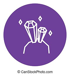 Gemstones line icon - Gemstones thick line icon with pointed...