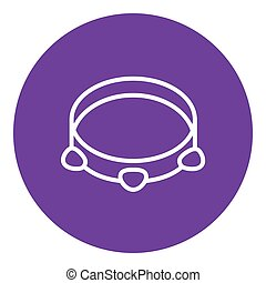 Tambourine line icon. - Tambourine thick line icon with...