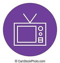 Retro television line icon - Retro television thick line...