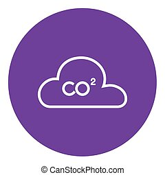 CO2 sign in cloud line icon - CO2 sign in cloud thick line...
