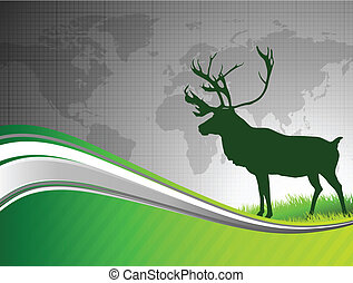 Deer on Abstract Green Background with World Map