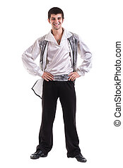Young and stylish modern ballet dancer, isolated on white...