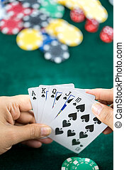 Gambling Hand Holding Game Cards - Gambling Hand Holding...