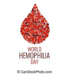 mundo, diseño, día, hemofilia, plantilla
