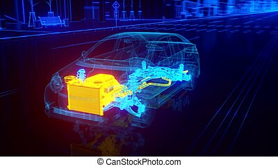 City car Wireframe View - engine and transmission details -...