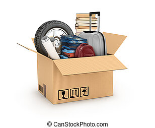 cardboard boxe with books, bag, weel and clothes, relocation...
