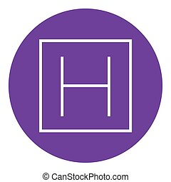 Hospital sign line icon - Hospital sign thick line icon with...