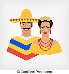 Mexican man and woman in traditional clothes.