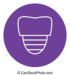 Tooth implant line icon - Tooth implant thick line icon with...