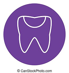 Tooth decay line icon. - Tooth decay thick line icon with...